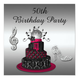 50th Birthday Disco Diva Cake and Sparkle Heels 13 Cm X 13 Cm Square Invitation Card