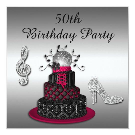 50th Birthday Disco Diva Cake And Sparkle Heels Invitation