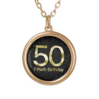50th Birthday, Elegant Black Gold Glam Gold Plated Necklace