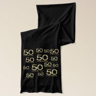 50th Birthday, Elegant Black Gold Glam Scarf