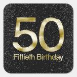 50th Birthday, Elegant Black Gold Glam Square Sticker
