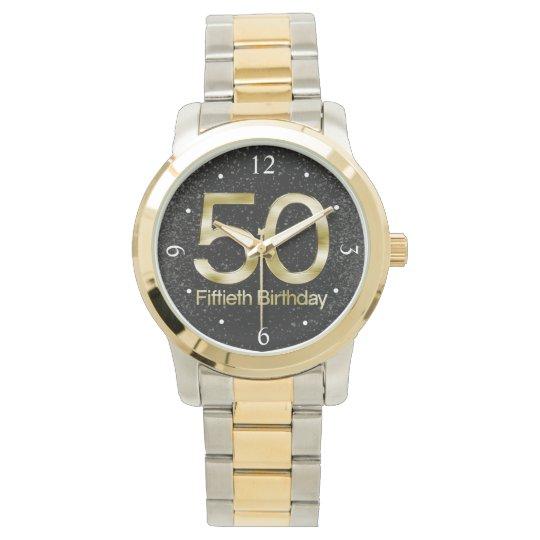 50th Birthday, Elegant Black Gold Glam Watch