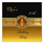 50th Birthday Elegant Gold Black Jewel Personalized Announcements