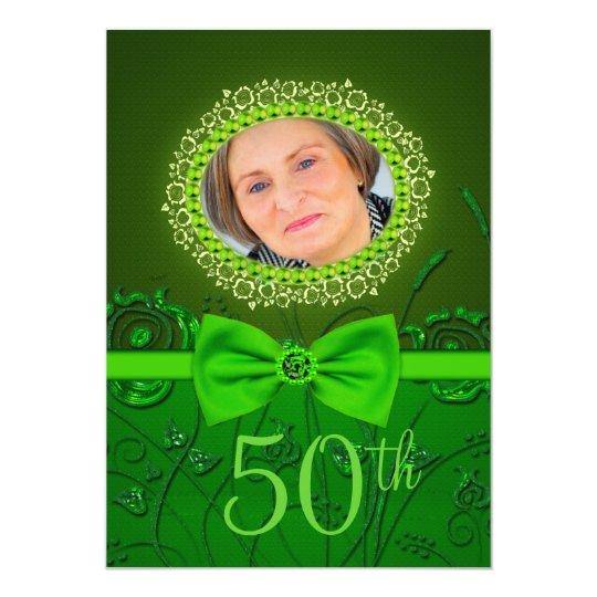 50th birthday elegant green floral invitation card