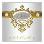 50th Birthday Elegant Lace White Gold Diamond 3 13 Cm X 13 Cm Square Invitation Card