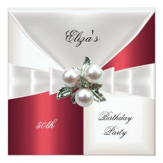 50th Birthday Elegant Red White Check Jewel 13 Cm X 13 Cm Square Invitation Card