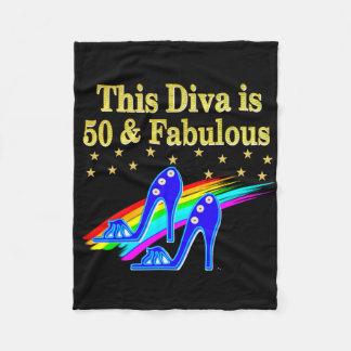 50TH BIRTHDAY FABULOUS DIVA DESIGN FLEECE BLANKET