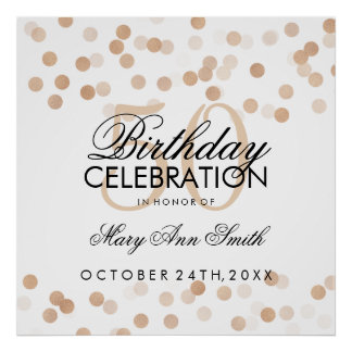 50th Birthday Faux Copper Foil Glitter Lights Poster