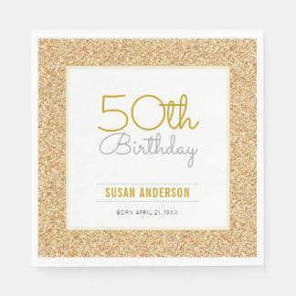 50th Birthday Faux Gold Glitter Disposable Serviette