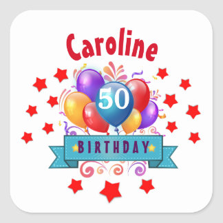 50th Birthday Festive Colorful Balloons C01DZ Square Sticker