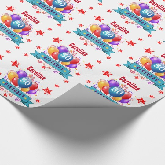 50th Birthday Festive Colourful Balloons C01DZ Wrapping Paper