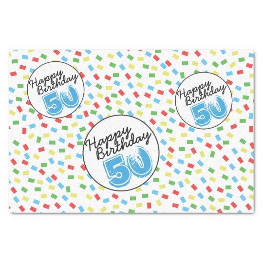 50th Birthday Festive Colourful Gift Wrap Supplies Tissue