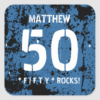 50th Birthday Fifty Rocks BLUE Grunge Pattern F50Z Square Sticker