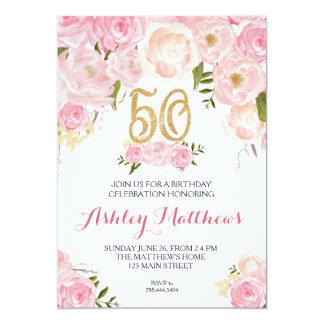 50th birthday Floral Invitation, 13 Cm X 18 Cm Invitation Card