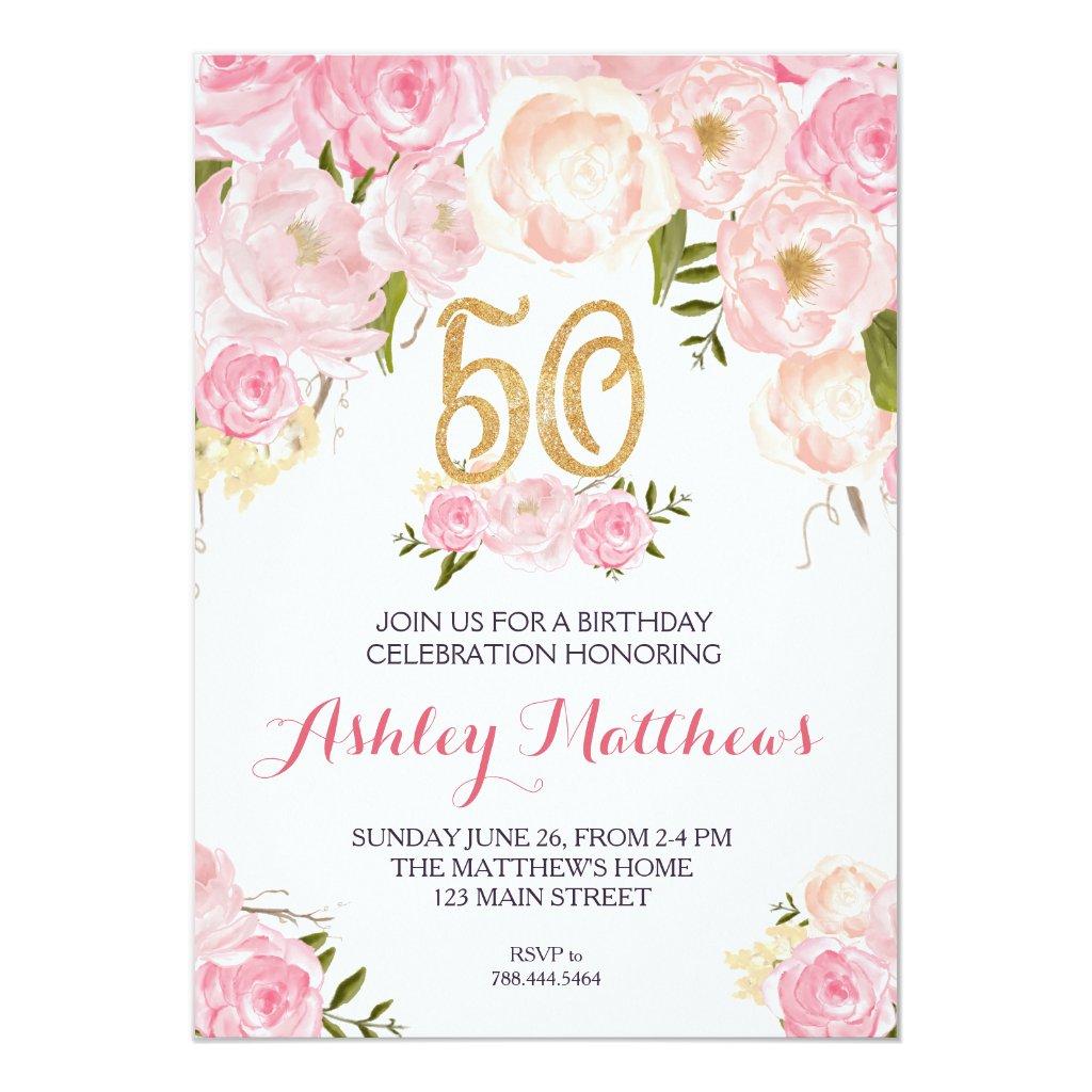 50th birthday Floral Invitation,