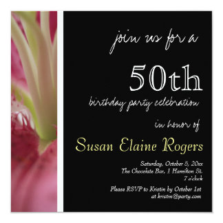 50th Birthday Floral Lily 2 Invitation