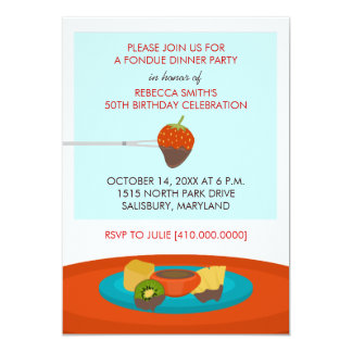 Birthday dinner invitations announcements zazzle 50th birthday fondue dinner party invitation stopboris Images