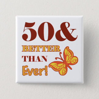 50th Birthday For Her 15 Cm Square Badge