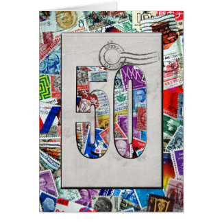 50th Birthday for stamp collector Greeting Card