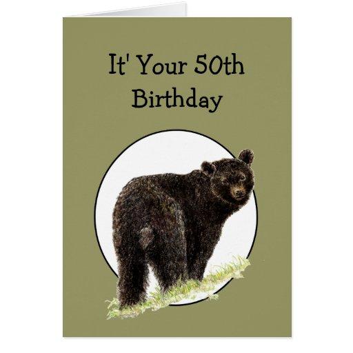 50th Birthday Fun Black Bear - Grin and Bear it Cards