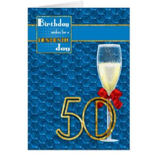 50th Birthday - Geometric Birthday Card Champagne