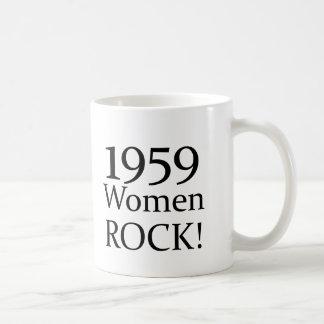 50th Birthday Gifts, 1959 Women Rock! Basic White Mug