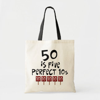 50th birthday gifts, 50 is 5 perfect 10s! canvas bags