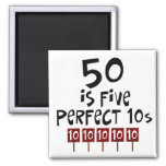 50th birthday gifts, 50 is 5 perfect 10s! magnets