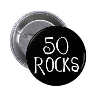 50th birthday gifts, 50 ROCKS 6 Cm Round Badge