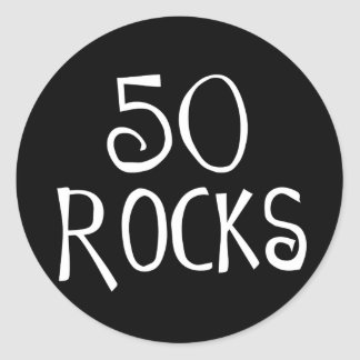 50th birthday gifts, 50 ROCKS Classic Round Sticker
