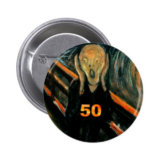 50th Birthday Gifts, The Scream 50! 6 Cm Round Badge