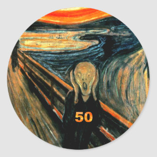 50th Birthday Gifts, The Scream 50! Classic Round Sticker