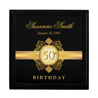 50th Birthday Gold Black Keepsake Gift Box