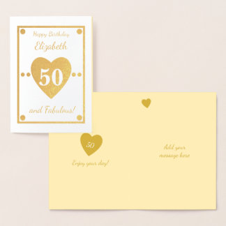 50th Birthday Gold Foil Card
