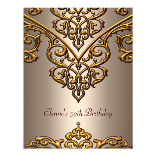 50th Birthday Gold on Coffee Overlay Announcement
