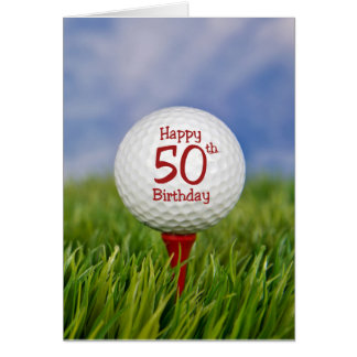50th Birthday Golf Ball Card