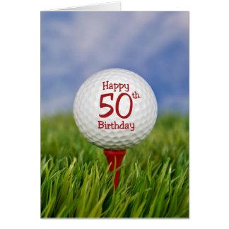 50th Birthday Golf Ball Greeting Card