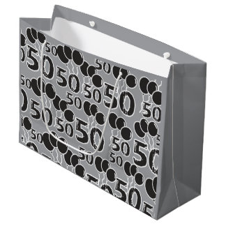 50th Birthday Grey Black Large Gift Bag