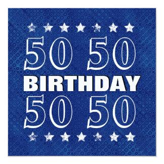 50th Birthday Grunge Save Date Blue White N81Z 5.25x5.25 Square Paper Invitation Card