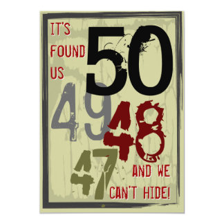 50th Birthday Grungy Countdown Couples Party 13 Cm X 18 Cm Invitation Card
