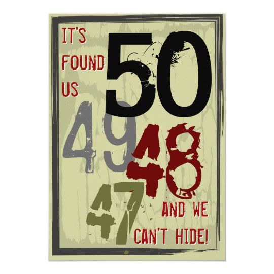 50th Birthday Grungy Countdown Couples Party Card