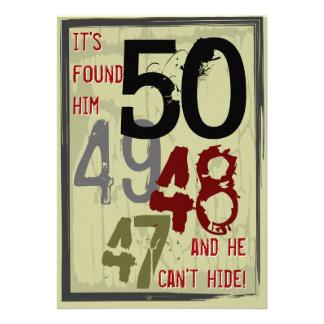 50th Birthday Grungy Countdown Party Invitation