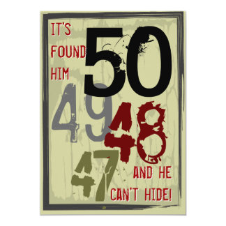 50th Birthday Grungy Countdown Party Invitation