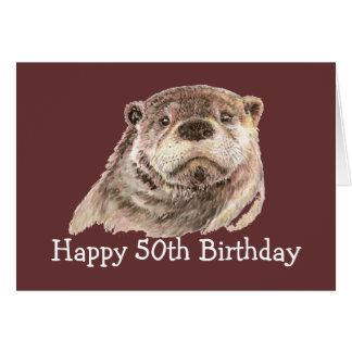 50th Birthday Humor with Cute Watercolor Otter Card