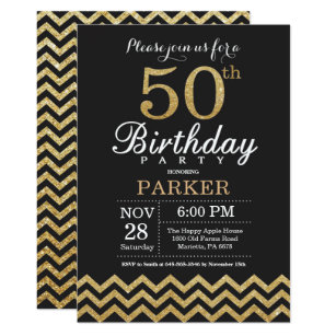 Gold And Black 50th Birthday Invitations Announcements Zazzle Uk