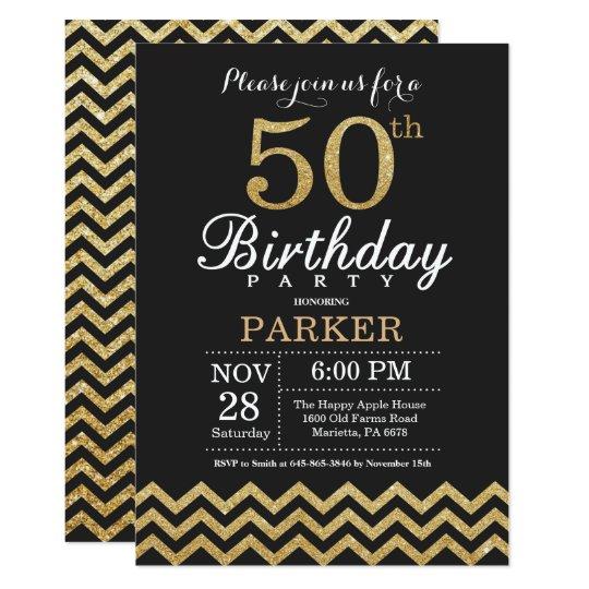 50th Birthday Invitation Black And Gold Glitter Zazzle Co Uk