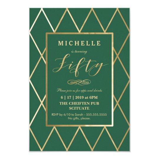 50th Birthday Invitation - Gold, Elegant, Trendy