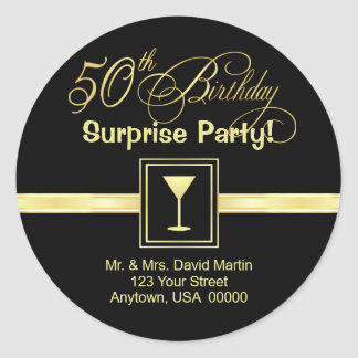 50th Birthday Invitations - Return Address Labels Round Sticker