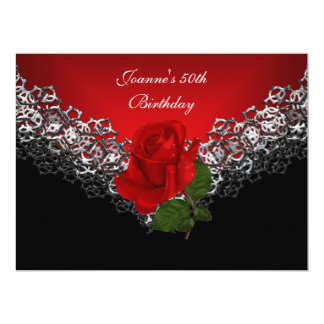 """50th Birthday Lace Black Silver Deep RED Rose 6.5"""" X 8.75"""" Invitation Card"""