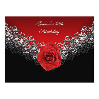 50th Birthday Lace Black Silver Deep RED Rose 6.5x8.75 Paper Invitation Card